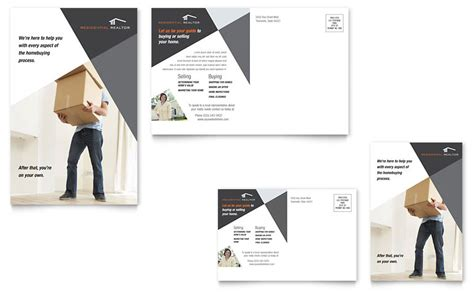 contemporary modern real estate postcard template word