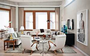 23 ideas on how to setup a tv in living room with pictures for Mid century modern living room furniture arrangement
