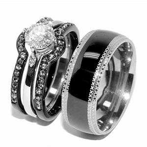 His hers 4 pcs black ip stainless steel womens wedding set for Men and women matching wedding rings