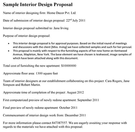 awesome interior design proposal letter picture
