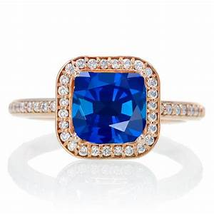 2 carat beautiful sapphire and diamond halo wedding ring With diamond and sapphire wedding ring sets