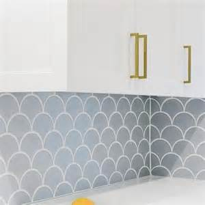 kitchen tile for backsplash white kitchen with blue fish scale backsplash tiles my