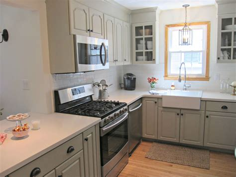 Grey Corian Countertops by Corian Linen Counters Gray Cabinets Farmhouse Sink Our