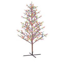 shop ge 8 ft indoor outdoor pre lit winterberry artificial christmas tree with multicolor lights