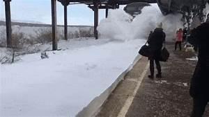 Watch  Speeding Train Bombards Amtrak Commuters With Snow
