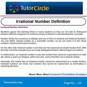 Irrational Number Definition By Yatendra Parashar