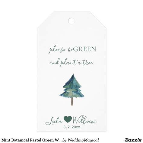 Mint Botanical Pastel Green Wedding Favors Tag Zazzle