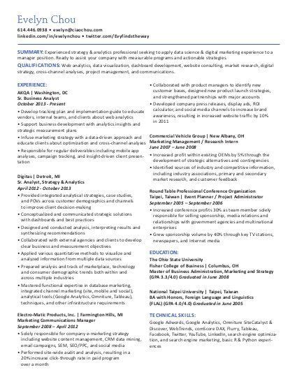 Digital Marketing Strategy Resume by Chou Digital Strategy Analytics Professional