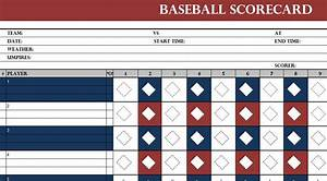Game Bracket Template Baseball Scorecard Template My Excel Templates