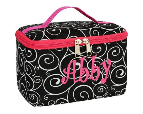 personalized swirls monogrammed small cosmetic bag