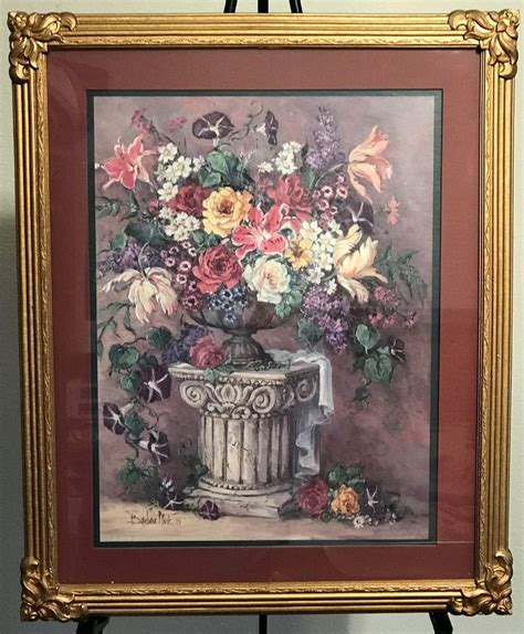 home interior picture frames homco home interiors picture artist barbara mock old world floral vgc gold frame ebay