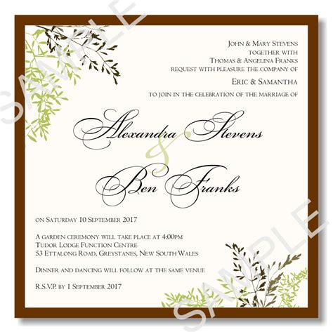 budget wedding invitations template wedding autumn leaves