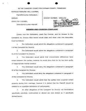 answer  complaint  divorce fill  printable