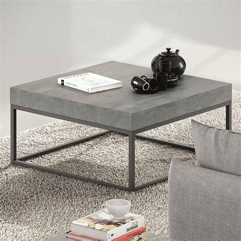 table basse design carr 233 e bois effet b 233 ton m 233 tal l75cm temahome port offert