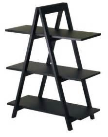 Leaning Bookcase Walmart by Winsome Wood 3 Tier A Frame Shelf Black Furniturendecor Com