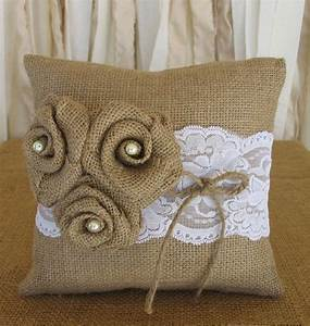 Ring Pillow Burlap Ring Bearer Pillow Wedding Pillow