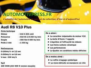 Audi R8 Fiche Technique : fiche technique audi r8 v10 plus automotiv press ~ Maxctalentgroup.com Avis de Voitures