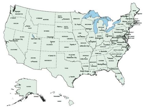 Us State Capitals Map