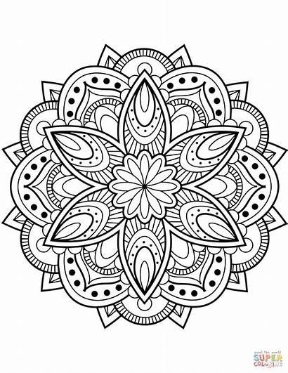 Coloring Mandala Pages Flower Printable Drawing Dot