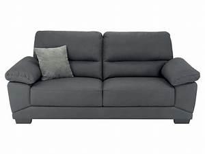 Canapé fixe 3 places en tissu MILAN coloris gris Vente de Canapé droit Conforama