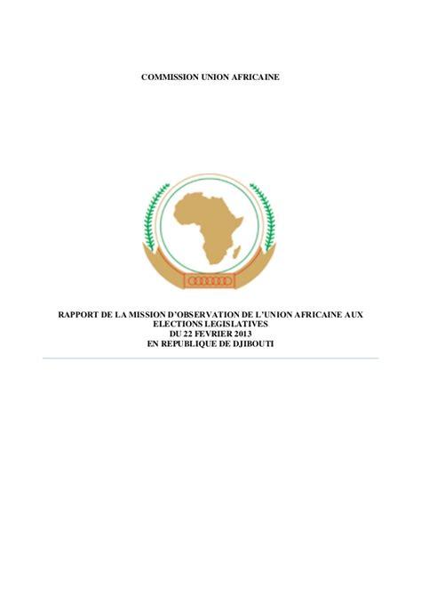 union africaine si鑒e rapport de la mission d observation de l union africaine djibouti 2
