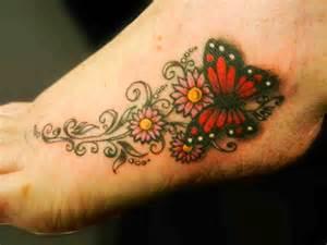 Butterfly On Flower Foot Tattoo Designs