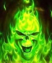 green flaming skull wallpaper gallery