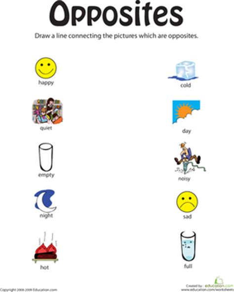 identifying opposites from happy to worksheet