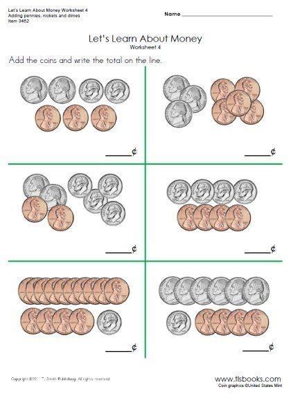 counting pennies  nickels worksheets   grade
