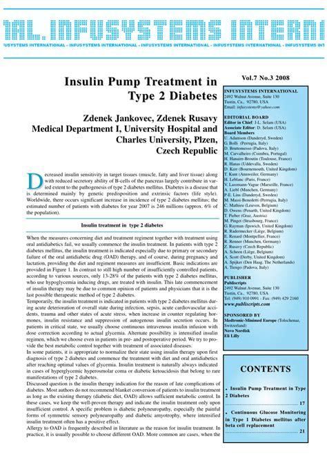insulin pump treatment  type  diabetes mellitus