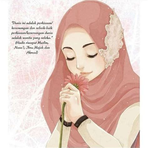 anime wanita yang imut 14 kartun muslimah imut membawa bunga anak cemerlang