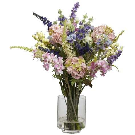 lavender hydrangea silk flower arrangement silk