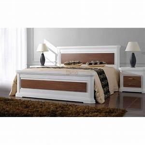 Lit Blanc Adulte : lit adulte laque blanc et bois louisiane meubles elmo ~ Teatrodelosmanantiales.com Idées de Décoration