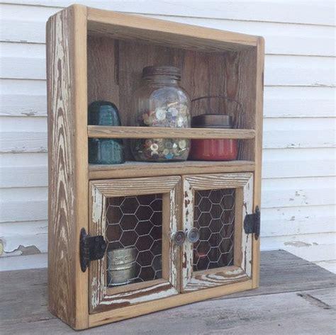 reclaimed wood cabinet chicken wire decor kitchen shelf