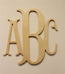 wooden monogram unpainted wood monogram wood letters With wooden initial letters monogram