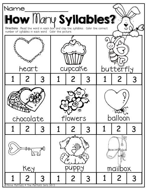 february no prep packet kindergarten syllable