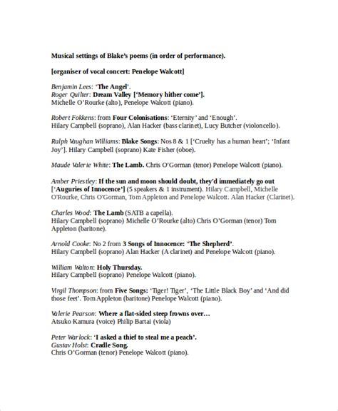 concert program template program template word 6 free word document downloads free premium templates