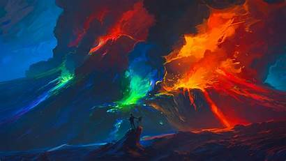Lava Volcano Painting Digital Smoke Colourfull Backgrounds