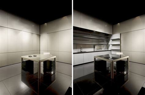 disappearing sleek  polish kitchen design calyx