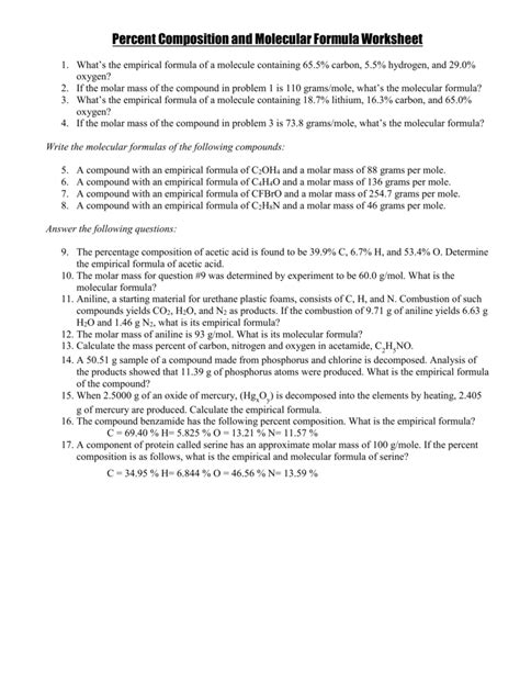 worksheet c 43 percent composition answers breadandhearth
