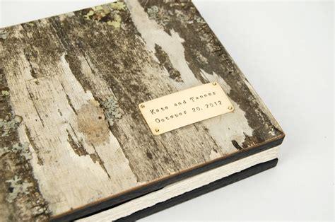 wood guest book custom birch bark wedding guestbook