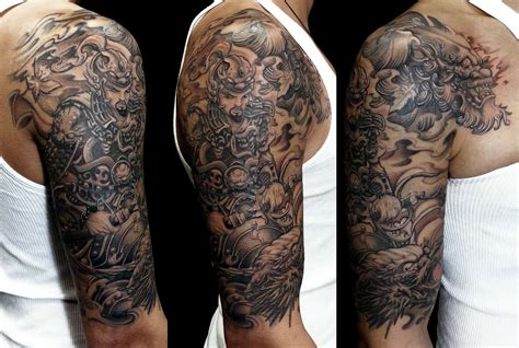 sleeve warrior dragon  foo dog tattoo chronic ink