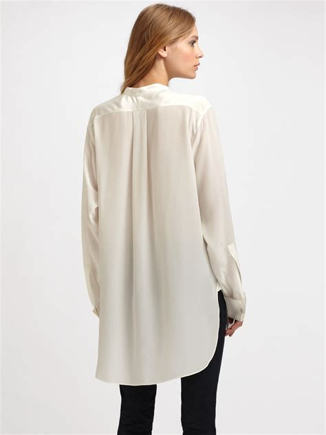 sheer white blouse joseph oversized semi sheer silk blouse in white lyst