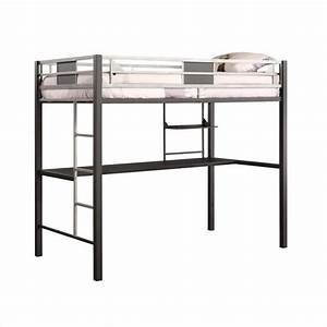 Metal Twin Loft Bed in Black with Desk - 5461096