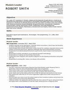 Module Leader Resume Samples