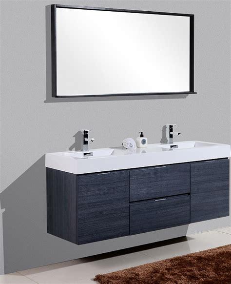 bliss  gray oak wall mount double sink vanity