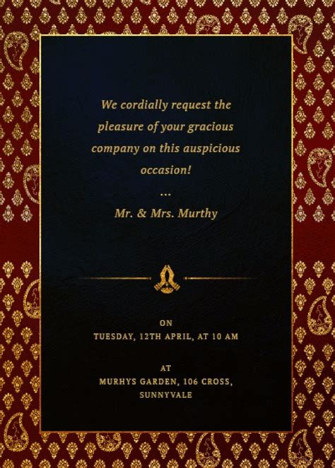 ethnic royal frame invitation invites