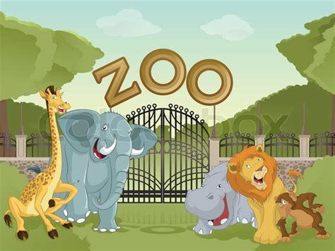 zoo cartoon background animals vector entrance backdrop african shutterstock zoology gate zoological garden props stone monkey draw drawings clip preview