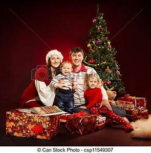 Christmas Family Four Persons And Royalty Free