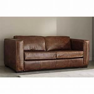 Canape lit 3 places en cuir marron berlin maisons du monde for Canapé lit en cuir